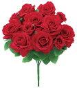 【造花 アーティフィシャルフラワー】ベルベットバッキンガムローズブッシュ x 12 レッド d-0020362-flb-8098_rd