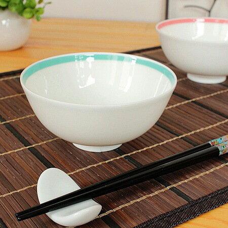 グリーン ラインご飯茶碗【洋食器・白い食器・軽量・伏せ焼き・アウトレット・多治見美濃焼・日本製】