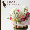 【送料無料・あす楽】トイプードル犬(白)の花ギフトまるでぬいぐるみみたい☆かわいいトイプードル犬の生花フラワーアレンジメント(白)