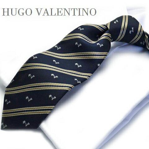 【春物入荷】HUGO VALENTINO【ネクタイ】 TYPE-536【シルク】ストライプ/ネイビー犬/ドッグ/dog