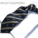 HUGO VALENTINO【ネクタイ】 TYPE-536【シルク】ストライプ/ネイビー犬/ドッグ/dog