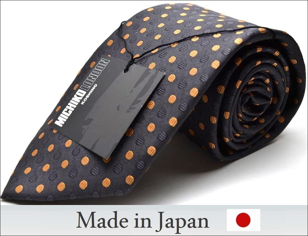 【MICHIKO LONDON】【日本製】ドット/チャコールグレー/オレンジ/【ネクタイ】M-2805P03Sep16