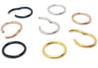 ヒンジ セグメントリング クリッカー 316Lサージカルステンレス 1.0mm(18G) 1.2mm(16G) 1.6mm(14G) シルバー/ブラック/ゴールド/ピンクゴールド/レインボー/ブルー/ボディピアス