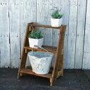 ≪リサイクルウッド・フラワースタンド3段ステップ ≫花台 木製 玄関 ベランダ ガーデン 天然木製 玄関 木製花台 木製フラワースタンド 無垢