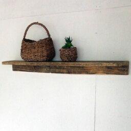 ≪リサイクルウッド・ウォールシェルフLL≫木製シェルフ 壁掛けシェルフ 壁掛け飾り棚 飾り棚 壁掛け 無垢 天然木 アンティーク風