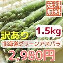 【送料無料】【数量限定訳あり】【露地栽培】グリ−ンアスパラガス(S〜L混1.5kg)※パ−