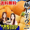お一人様5点まで【送料無料】生バフンウニを中心に200gウニ丼3杯分!嬉しい高級塩水パック仕様♪漁次第でムラサキウニが届くかも(冷蔵)