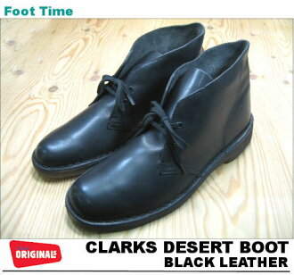 CLARKS DESERT BOOT BLACK LEATHER