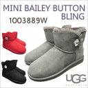 アグ ミニ ベイリーボタン ブリング シープスキン ムートン UGG MINI BAILEY BUTTON BLING 1003889 【3 COLORS】 BLACK GREY RED スワロフスキー  『送料無料』