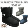 アグ ベイリーボタン ブリング シープスキン ムートン UGG BAILEY BUTTON BLING 3349 【3 COLORS】 BLACK GREY NAVY スワロフスキー  『送料無料』