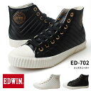 エドウィン ハイカット スニーカー ED 702 メンズスニーカー EDWIN 靴 通学 カジュアルシューズ キルティング (1709)