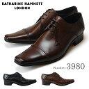 【ポイント10倍】キャサリンハムネット KATHARINE HAMNETT 3980 靴 紳士靴 メンズビジネスシューズ 外羽根 ストレートチップ ブラック ダークブラウン 24.5cm〜27.0cm 紳士靴 本革 成人式 就活 リクルート 就職(1710)(E)
