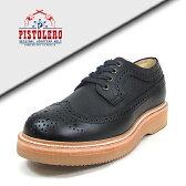 PISTOLERO [ ピストレロ ] オクスフォードウィングチップ 114-01 ブラック-正規品- 送料無料 ウイングチップ 革 レザー ワーク オックスフォード boot ビブラム Vibram 靴 シューズ メキシコ製 グッドイヤーウェルト製法 ソール交換可 サンド 通販