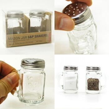 塩コショウ入れMASONJARSALTANDPEPPERSHAKERSKIKKERLAND調味料入れスパイスシェーカーキッチンメイソンジャー
