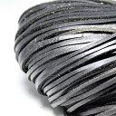 革ひも 平ひもタイプ 幅約3mm 厚み約2mm 長さ約1m 手芸 1本 ブラック(1m) 〔G1-6-black〕