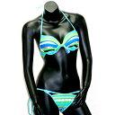 三角 ビキニ ブルー系色ボーダー柄 パット付 胸元にキュートなリボン付(取り外し可能) 可愛(水着)縁取り水色 sw-31048