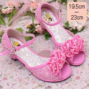 SALE女の子サンダルキッズヒールジュニア子供フォーマル靴フラワーモチーフレース柄サンダル「ピンク」