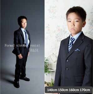 フォーマルレンタル・ブラック ストライプ ジャケットスーツフルセット・ボタンダウンシャツ