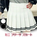 レディース ミニ プリーツ スカート ミニスカート ボーダー テニススカート 白 黒 2色 S M L