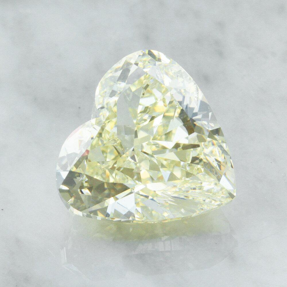 【中宝鑑定書付】 5ct ライトイエロー SI-1 ハートシェイプ ダイヤモンド ルース 4月誕生石
