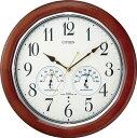 掛け時計 壁掛け時計 電波時計 シチズン リズム時計 ネムリーナインフォートW アナログ 木枠 8MY464-006 CITIZEN