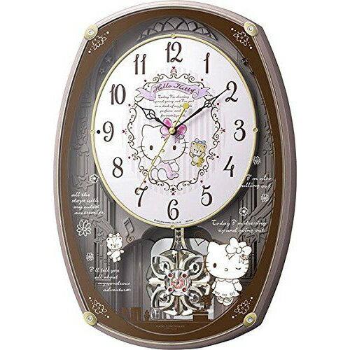 CITIZEN (シチズン) リズム時計 Hello Kitty ハローキティ M540 からくり時計 電波 掛け時計 30曲搭載 ピンクメタリック色 4MN540MB13