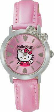 ハローキティ HELLO KITTY 腕時計 ガールズ レディース ウォッチ シチズン Q&Q アナログ 革ベルト 日本製 ピンク CITIZEN 0001N003