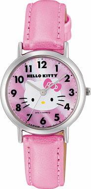 ハローキティ HELLO KITTY 腕時計 ガールズ レディース ウォッチ シチズン Q&Q アナログ 革ベルト 日本製 ピンク CITIZEN 0017N001