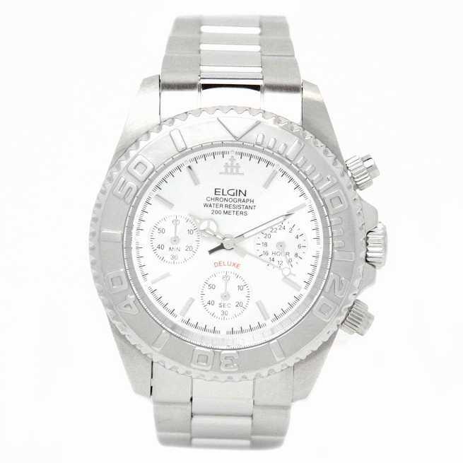 エルジン 腕時計 メンズウォッチ クロノグラフ 日本製ムーブメント 200M防水 ホワイト FK1120S ELGIN 品質はすべてに優先する