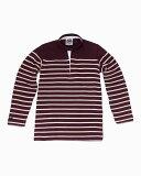 バーバリアン【BARBARIAN】GNBHC L/S OFF06(ハーバード/ベージュ)メンズ 長袖 ヘンリーカラー スタンドカラー ラガーシャツ ボーダー
