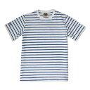 バーバリアン【BARBARIAN】GCNBNC S/S NSS04(ホワイト×ロイヤル)メンズ 半袖 ラガーシャツ ライトウエイト クルーネック ボーダー (ホワイト)(ロイヤルブルー)