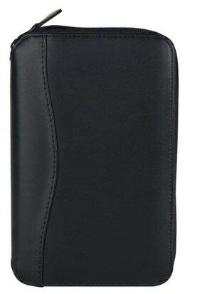 NEWニュー・ディンプル・レザー・バインダーファスナータイプポケットサイズブラック×ホワイト