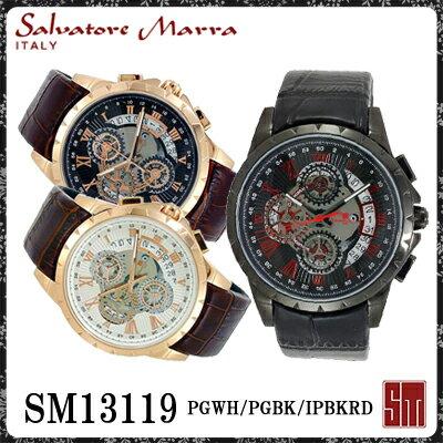 【送料無料】サルバトーレマーラ メンズ腕時計 SM13119 PGWH PGBK IPBKRD 全3色 クロノグラフ【Salvatore Marra】 [受注発注の為 キャンセル・変更・同梱] 絶大な人気を誇るイタリアが生んだ本格派腕時計