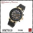 【送料無料】サルバトーレマーラ メンズ腕時計 SM7019 PGBK クロノグラフ【Salvatore Marra】