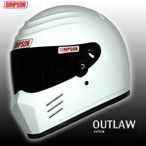 シンプソン ヘルメット アウトロー ホワイト フェイス オートバイ