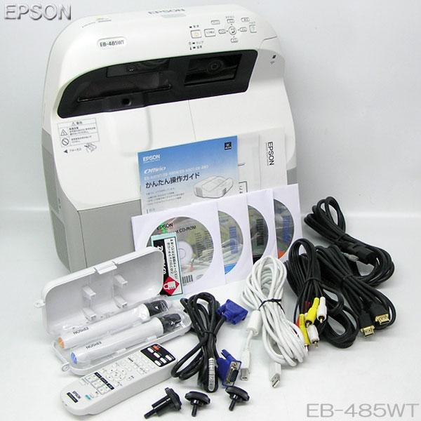 □■□EPSON【EB-485WT】3100lm プロジェクター【中古】ランプ点灯時間(節電モード、オフ:390h/オン:288h)推奨品HDMI入力、リモコン他、付属品充実//即使用可能!!
