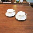 廚房用品 - [中古]★モデルルーム展示品★【Noritake】ノリタケカップ&ソーサー2脚セットゴールド×ホワイト