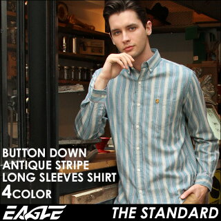送料無料EAGLETHESTANDARDイーグルシャツブランド長袖シャツメンズストライプシャツ[日本規格](eagle-89023)ストライプシャツ長袖シャツメンズカジュアルシャツボタンダウンシャツワイシャツYシャツ大きいサイズコットンシャツメンズシャツ
