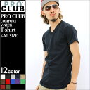PRO CLUB プロクラブ tシャツ メンズ vネック tシャツ メンズ 大きいサイズ [tシャツ メンズ 半袖 ストリート 無地 tシャツ 半袖tシャツ 無...