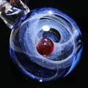 楽天Fried Jamネックレス 宇宙 銀河 ガラス 宇宙ガラス ペンダント 付属ジュエリーボックスを開けるとLEDが点灯! 紅珠/藍底【送料無料】