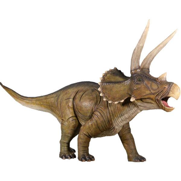 FRP恐竜オブジェ 巨大トリケラトプス 置物 白亜紀 草食恐竜 角竜類 標本 博物館 店舗 イベント ディスプレイ 実物大 等身大 リアル 【whlny】