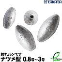 【ワームシンカー】TAKATA (タカタ) 釣れルンです ナツメ型 0.8号〜3号 (パックおもりシリーズ) 【鉛素材・ナツメ型オモリ】