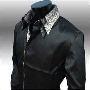シャドー ストライプ ボタンダウンシャツ ブラック