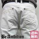 Be Ambition ホワイトジーンズ デニム チノパン スカル刺繍 ドクロ エンボス ストレッチ Gパン メンズ ファッション 20代 30代 40代 50代 バイカー アメカジ ミリタリー ロック系 あす楽 ちょいワル 【送料無料】 ビーアンビション
