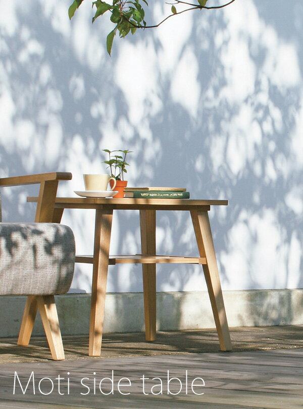 Moti サイドテーブル 50×44cm【木製】【アッシュ】【タモ】