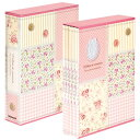 ナカバヤシ 5冊ボックス ポケットアルバム(パッチワーク柄)5PL-270-31-P ピンク