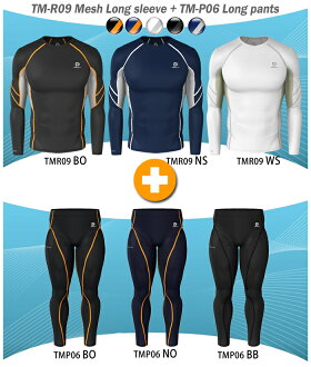 High-performance underwear aside mesh long sleeve 2 piece set (top and bottom set or on two cards)