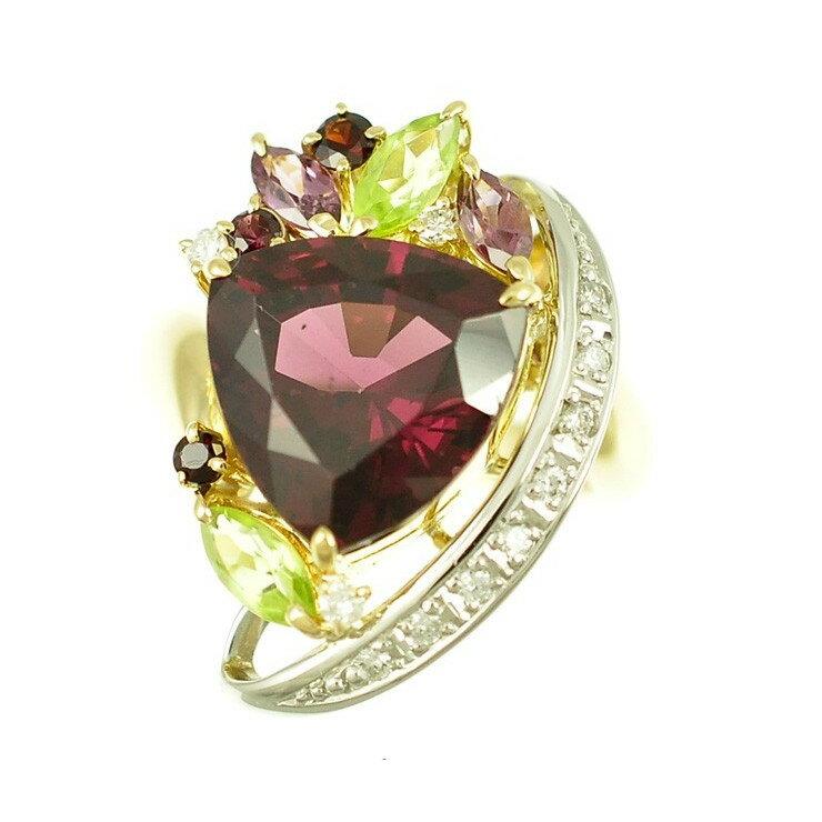 【スーパーSALE】K18イエローゴールド プラチナ900/ロードライトガーネット/ダイヤモンド/マルチカラー トライアングル ジュエリー サイズ:12号 【】【送料無料】 【SALE】【】【送料無料】ジュエリー リング 指輪 女性用 三角型 カラーストーンがたくさん入っているゴージャスなリングです。