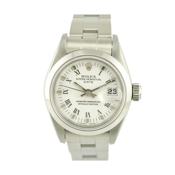 ROLEX ロレックス オイスターパーペチュアルデイト 69160 自動巻き レディース腕時計 文字盤ホワイト 【】【送料無料】 [][送料無料]女性用 時計 ブランド シンプルで、気兼ねなく使えるロレックスのレディース腕時計です。