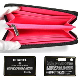 CHANEL/シャネル/カンボンライン/ラウンドファスナー長財布/黒×エナメル[中古][送料無料]
